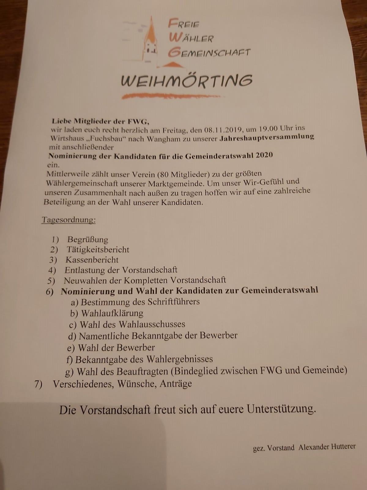 Jahreshauptversammlung FWG